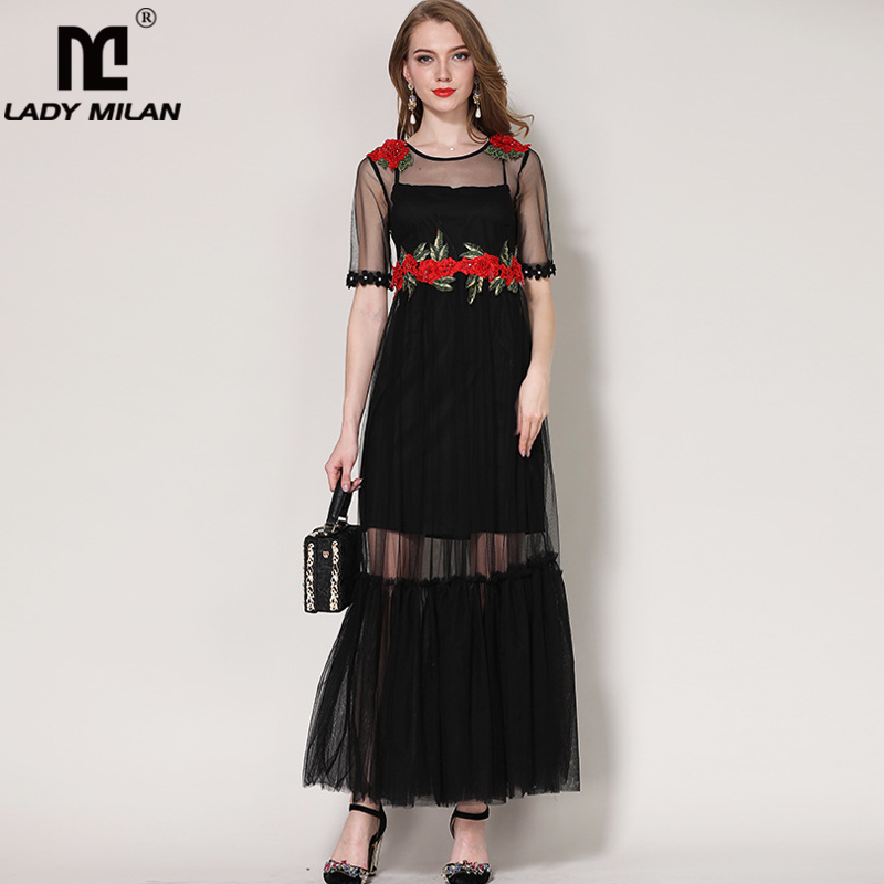 New Arrival 2018 Womens O Neck Short Sleeves Embroidery Beaded Appliques Patchwork Fashion Long Prom Casual Dresses