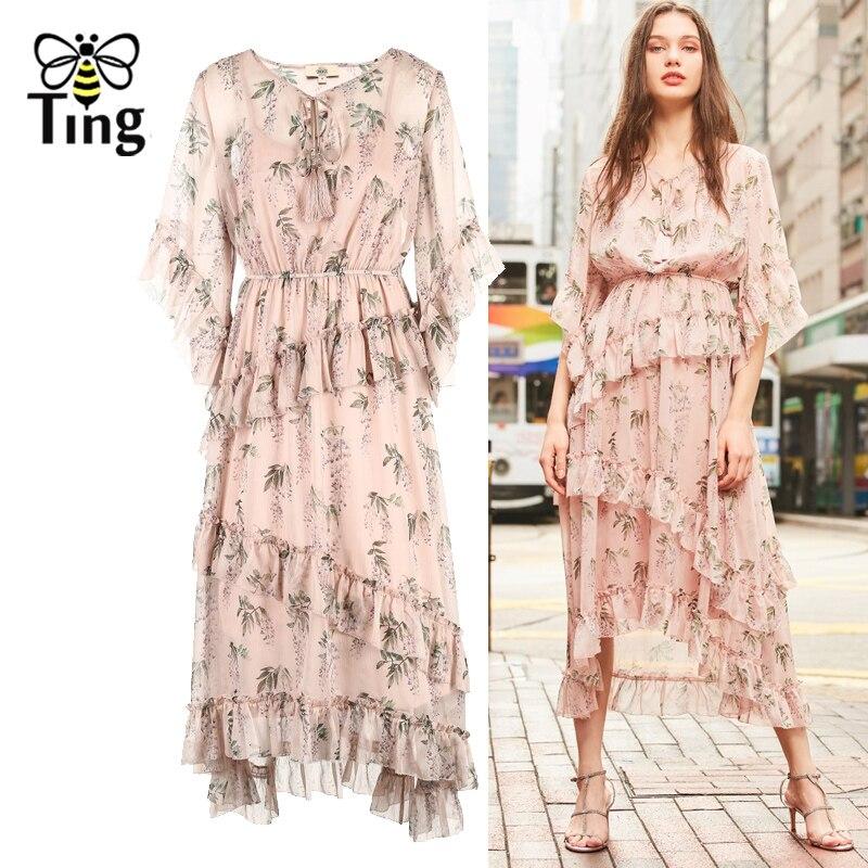 594b227ff6c3 Tingfly 2019 Summer Ruffles Midi Dress Elegant Women Pink Floral Print  Chiffon Dresses Casual Streetwear 2