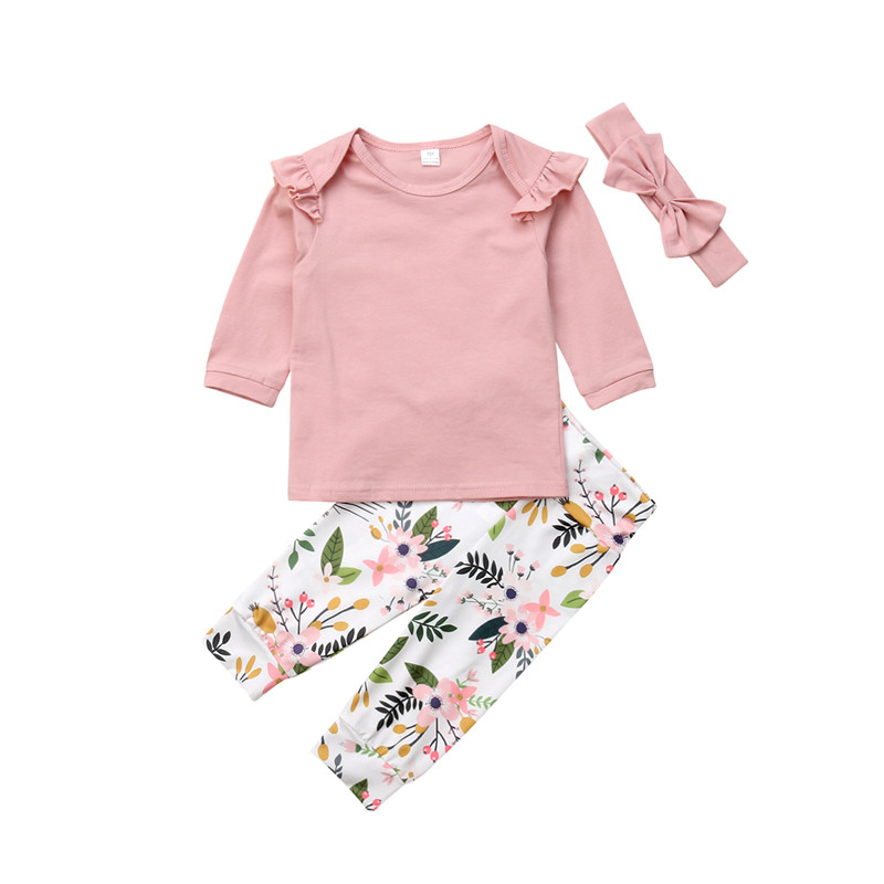 Floral Newborn Infant Baby Girls Clothes Autumn T-Shirt Tops Printed Flowers Pants Headband 3PCS Baby's Sets Pink 0-24M