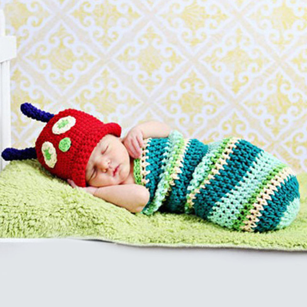Newborn Baby Cartoon Photo Props Cute Caterpillar Newborn Baby Boy Girl Photography Infant Knit Outfit