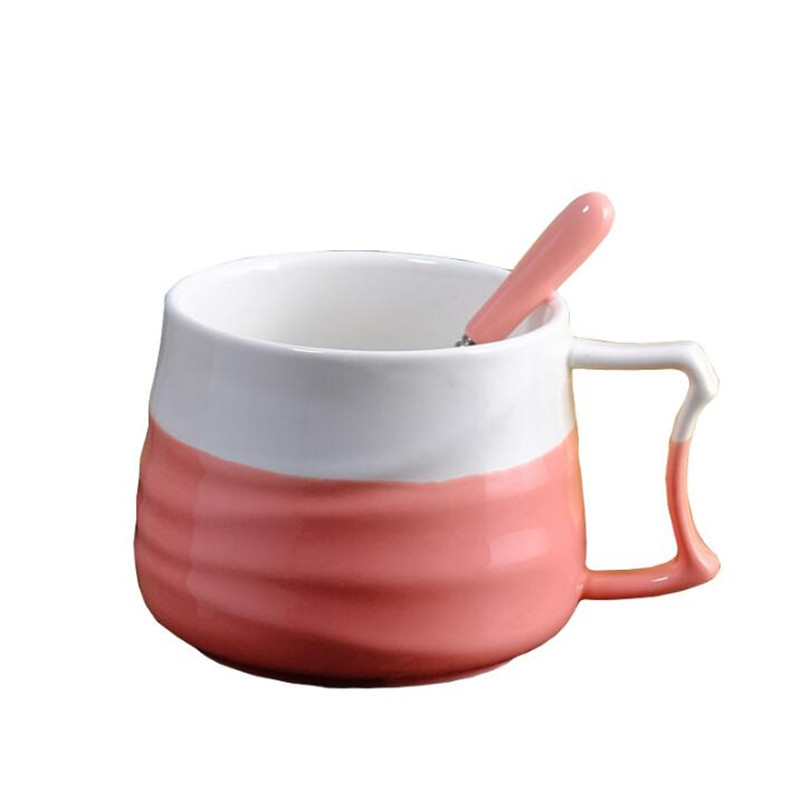 Creative Ceramic Cup Coffee Cup with Spoon Office Large Capacity Cup Milk Cup Personality Mug