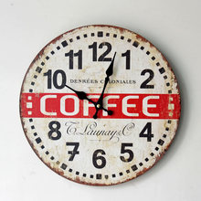 2016 New Arrival COFFEE TIME Painted Wooden Wall Clock Grocery Leisure Office Pendant 0002A6