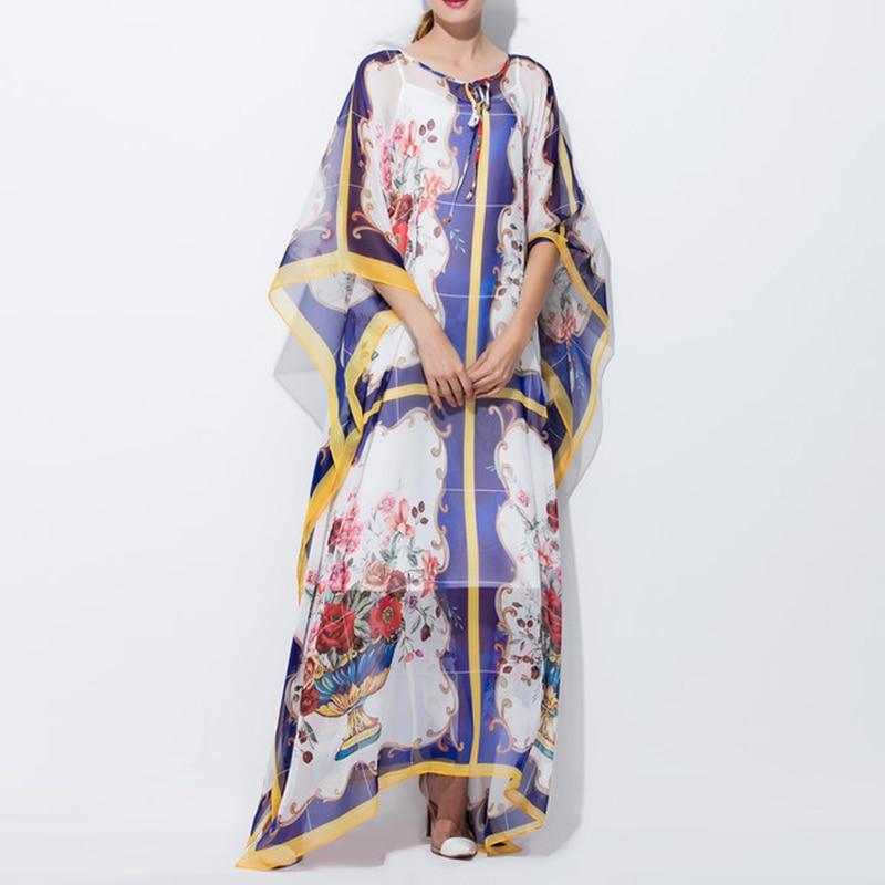 souris Chauve Nouvelle Piste Designer De Manches Mode Qualité Rétro Floral Partie Excellente Maxi Femmes Longue Robe Snz815w