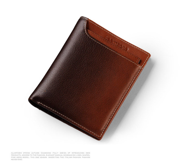 teemzone New Vintage Genuine Leather Cowhide Charcoal Burning Color Men Fashion Wallets...