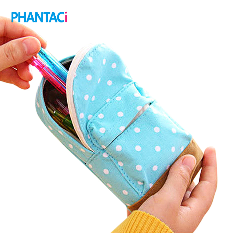 Cute Korean Big Capacity Canvas Backpack Polka Dot Pencils Bag Pencil Cases Pen Storage Cosmetic Bags For Women School Office