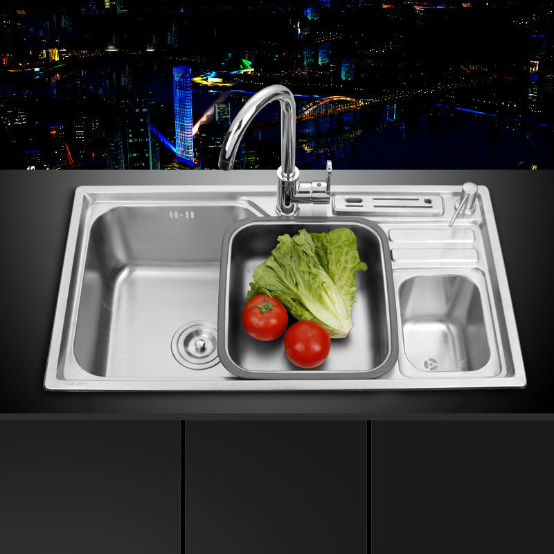 sink free shipping single groove single bowl vegetable washing basin pots 304 stainless steel kitchen sinks - Kitchen Sinks Price