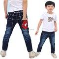 2015 новые детские джинсы мальчики человек паук джинсы весна осень джинсы малышей брюки