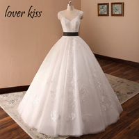 Lover Kiss Vestido De Novia Ball Lace Backless Wedding Dress 2018 Large Size Contrast Ribbon Sweep Train Bridal Gowns Customized