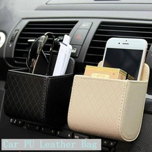 Universal Car Mobile Phone Pouch Hanger Bag PU Leather Auto Air Outlet Coin Case