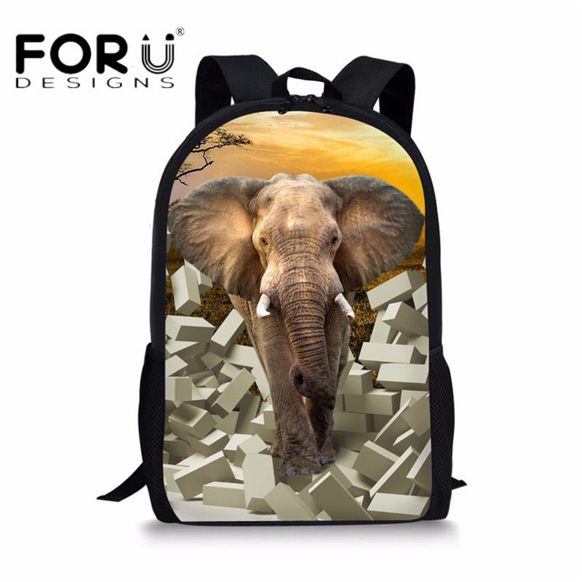Forudesigns Cool Elephant School Backpacks For Children Casual