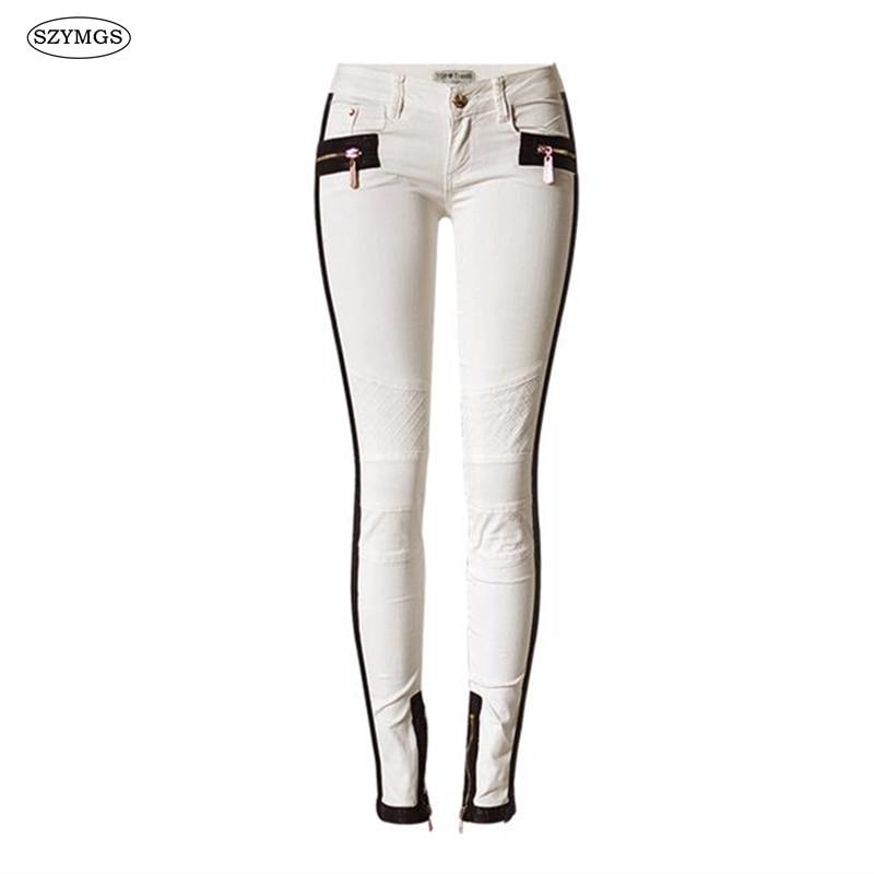 SZYMGS HOT Fashion Elastic jeans women White