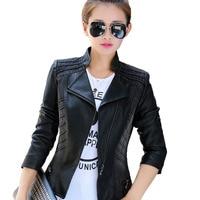 2018 New Spring Autumn Women PU Leather Denim Splicing Short Jacket Plus size 5XL Slim Female Fashion Jeans Outerwear Coats N233