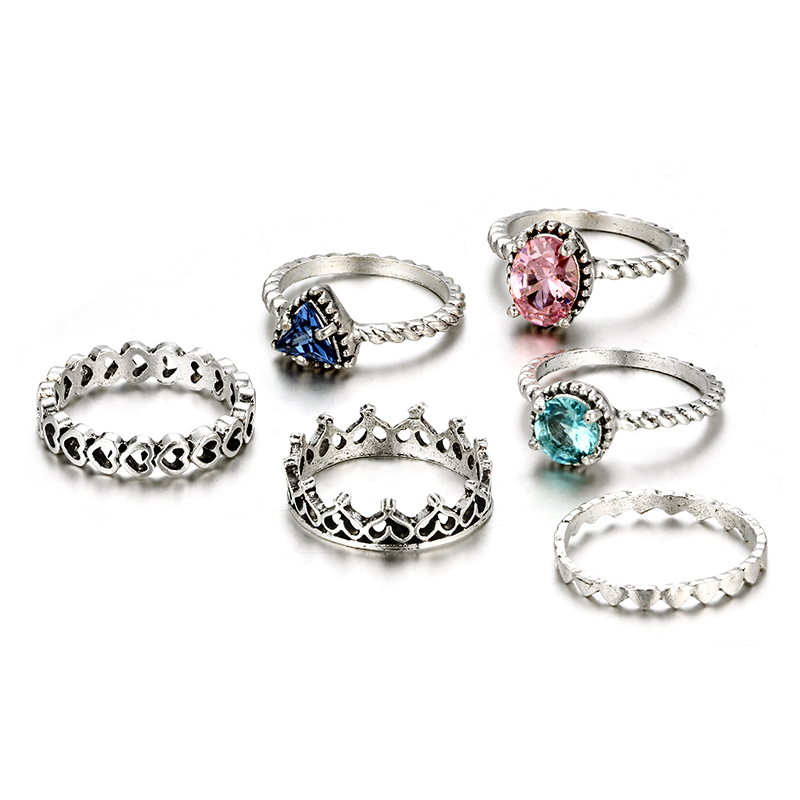HuaTang Bohemian Antique Silver Ring Geometric Elephant Flower Green Rhinestone Knuckle Rings Midi Finger Anel Rings Jewelry 75