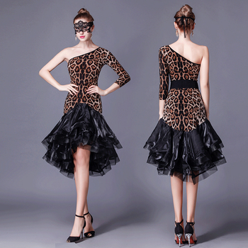 woman leopard long sleeves single shoulder Latin dance performance training one piece dress for international dance competition