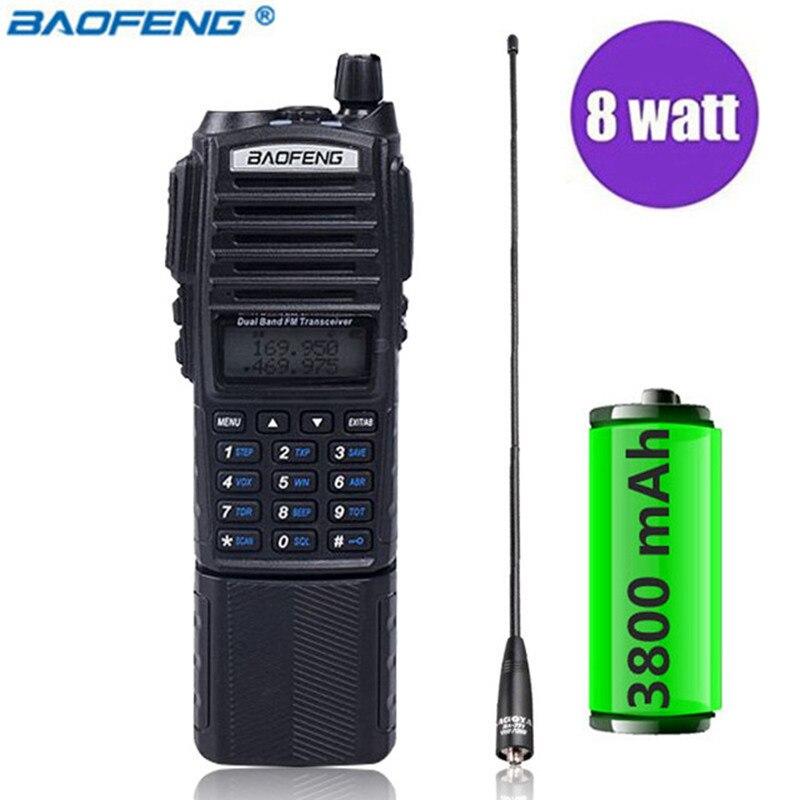 Baofeng UV-82 Plus Talkie-walkie 8 w Puissant 3800 mah Batterie Étendue UV82 Double PTT Bande Radio Émetteur-Récepteur Amateur Jambon BF UV 82