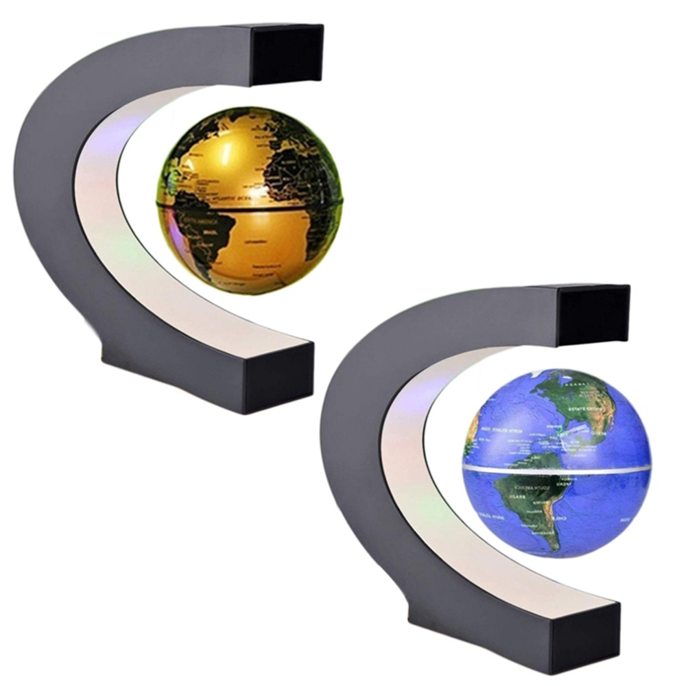 C shape Black Blue LED World Map Decor Home Electronic Magnetic