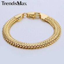Trendsmax 9mm Snake Herringbone Foxtail Chain Yellow or Rose Gold Filled Bracelet Womens Girls Boys Mens Bracelet Jewelry GB401
