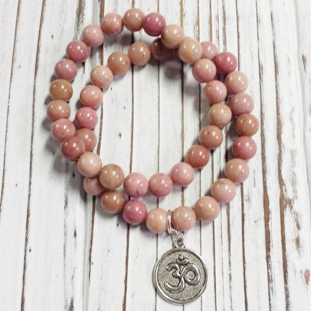 2pc Setbracelet For Women Pink Stone Bracelets Stretch Bracelet Lineagate Yoga Mala Beads Wrist