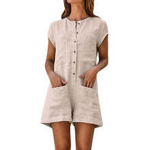 a7b4726c133a Sexy Women Playsuit V-neck Solid Romper Short Sleeve Casual Pocket Button  Jumpsuits Women Rompers