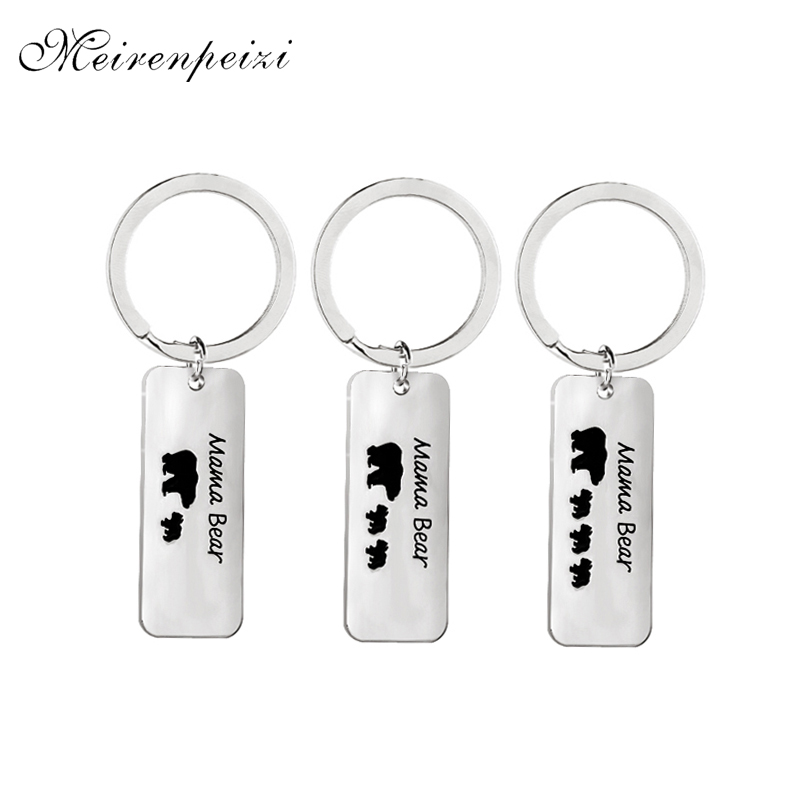 mama bear key chains Enamel Letter animal <font><b>Keychain</b></font> I Love mom Keyring <font><b>1</b></font> 2 <font><b>3</b></font> cubs baby bears charms Bag Rings key finder Jewelry image