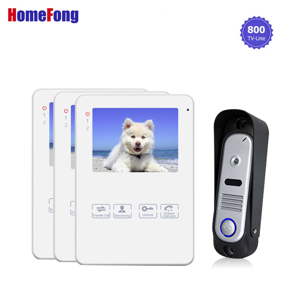 Homefong 1 V 3 Video Doorbell Intercom 4 Inch Video Door Phone System White Color Record 800TVL Call Transfer Ring Doorbell eye sight es nvc802w 3 5 screen 1 4 cmos 0 3mp network video phone call ip camera black white