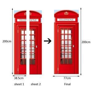 Image 3 - British London Red Phone Booth Sports Car Big Ben Classic Door Sticker DIY Mural Home Decor Poster PVC Waterproof Sticker