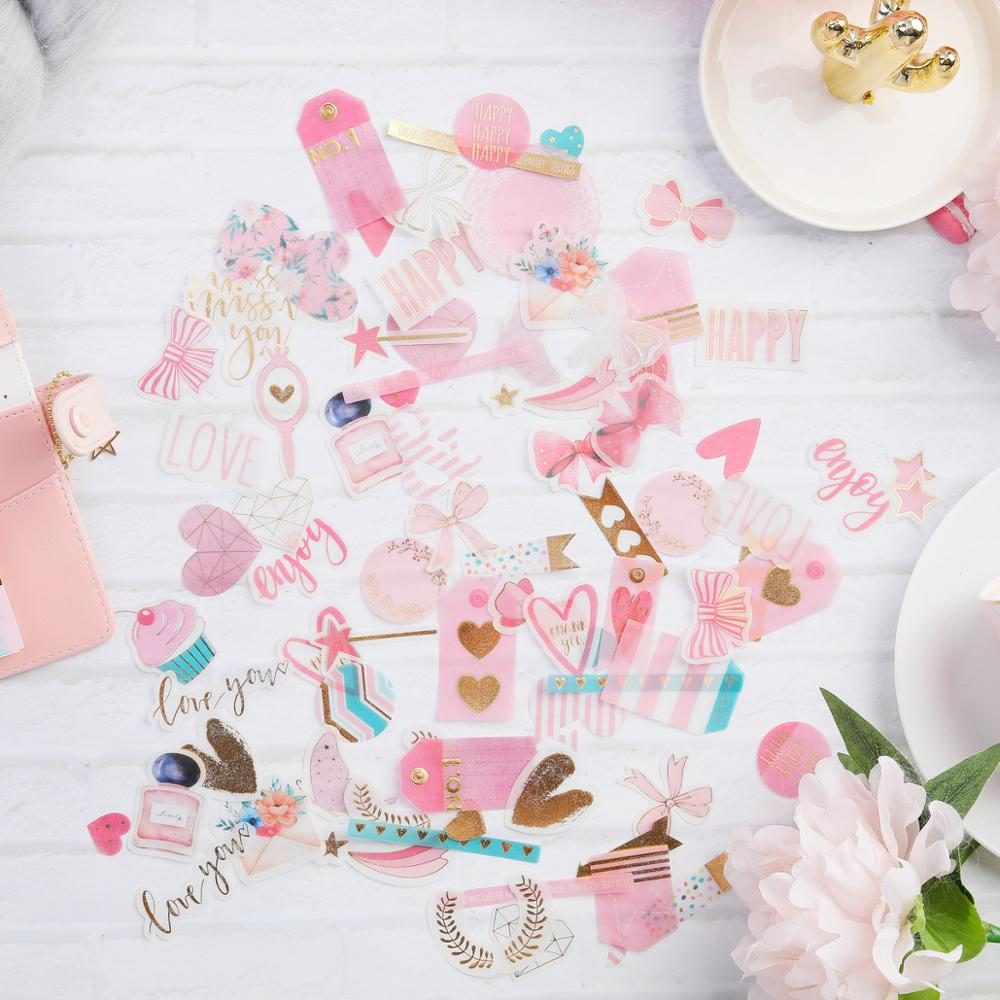 Midodo 90pcs/bag Pink Heart and Bow Series Self- adhesive Planner Vellum Paper Stickers Scrapbooking Diary Decor DIY Card Crafts(China)