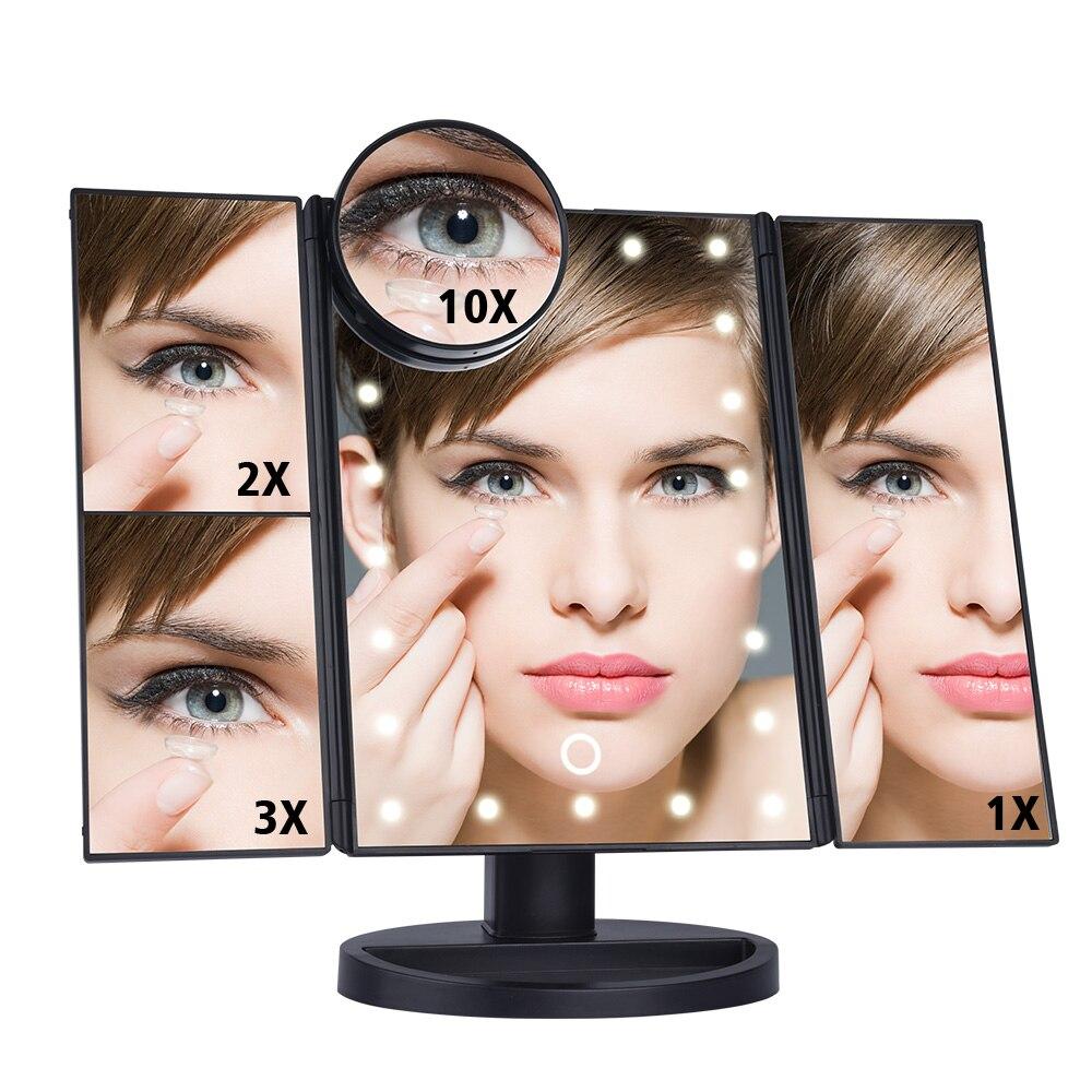 LED Touch Screen 22 Luz Maquiagem Espelho Mesa De Maquiagem De Desktop 1X/2X/3X/10X Ampliação Espelhos de Vaidade 3 Espelho dobrável Ajustável