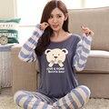Новый Пижамы Наборы для Женщин С Длинным Рукавом Пижамы Дамы Ночное Белье Мультфильм Пижамы Девушки PJS B3