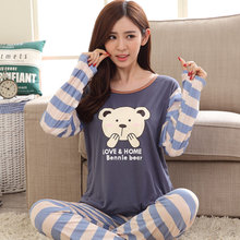 New Pajama Sets for Womens Long Sleeve Sleepwear Ladies Nightwear Cartoon Pajamas Girls PJS B3