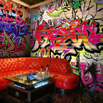 Custom Photo Wallpaper Fashion Personality Graffiti Letters Wallpaper Bar KTV Dance Studio Bedroom Backdrop Wall Mural Wallpaper custom 3d mural 3d stereo personality ktv bar background wall mural wallpaper graffiti music symbol mural for ktv bar