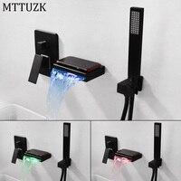 MTTUZK Brass LED Bathtub Waterfall Faucet Hot cold Bath Mixer Tap Matt Black Wall Mounted Bathroom Tap With Shower Set