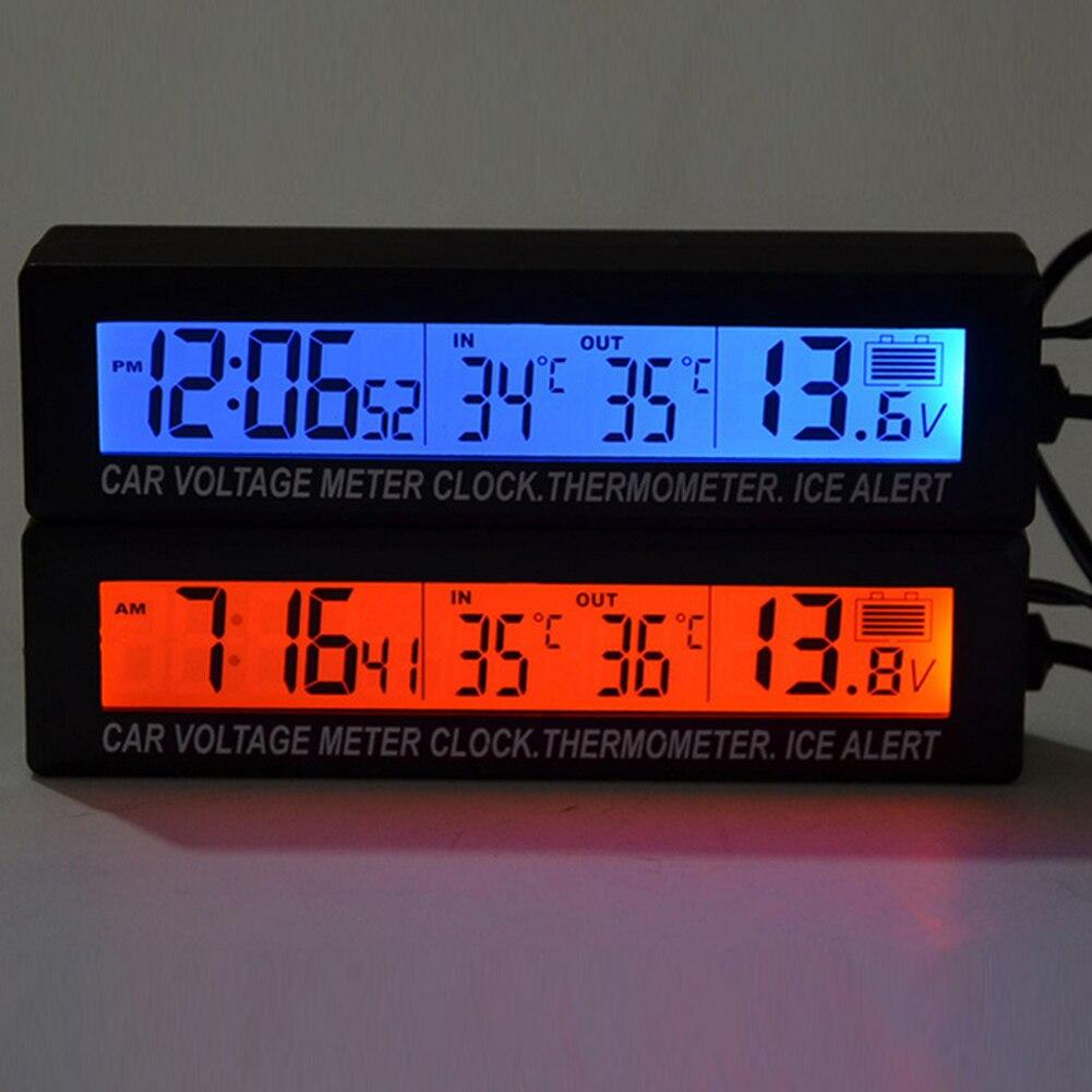 Auto Thermometer Voltmeter Auto Indoor Outdoor Termometro Temperatur Spannung Meter Wecker 95x15mm Blau Orange Hintergrundbeleuchtung