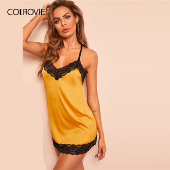 COLROVIE Yellow Lace Trim Satin Criss Cross Satin Sexy Night Dress With Thong Women 2019 Summer Sleeveless Backless Nightgowns 4