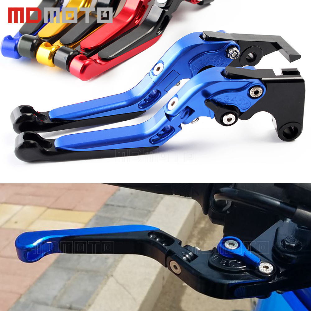 MDMOTO adjustable motorcycle brake clutch lever for yamaha YZF R1 R6 FZ1 FAZER R6S VERSION CNC motorbike brake clutch levers set 1 pair black aluminum motorcycle clutch brake lever motorbike handlebar brake lever for yamaha yzf r6 2005 2008 motorcycle parts