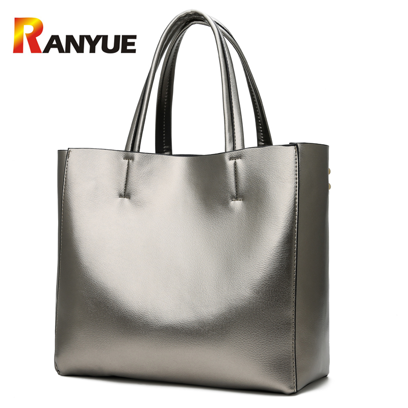 RANYUE Soft Pu Leather Women Handbags 2018 Sliver Gold Large Capacity Casual Tote Bag Female Big Shoulder Bag Bolsa Feminina New brand designer large capacity ladies brown black beige casual tote shoulder bag handbags for women lady female bolsa feminina page 2