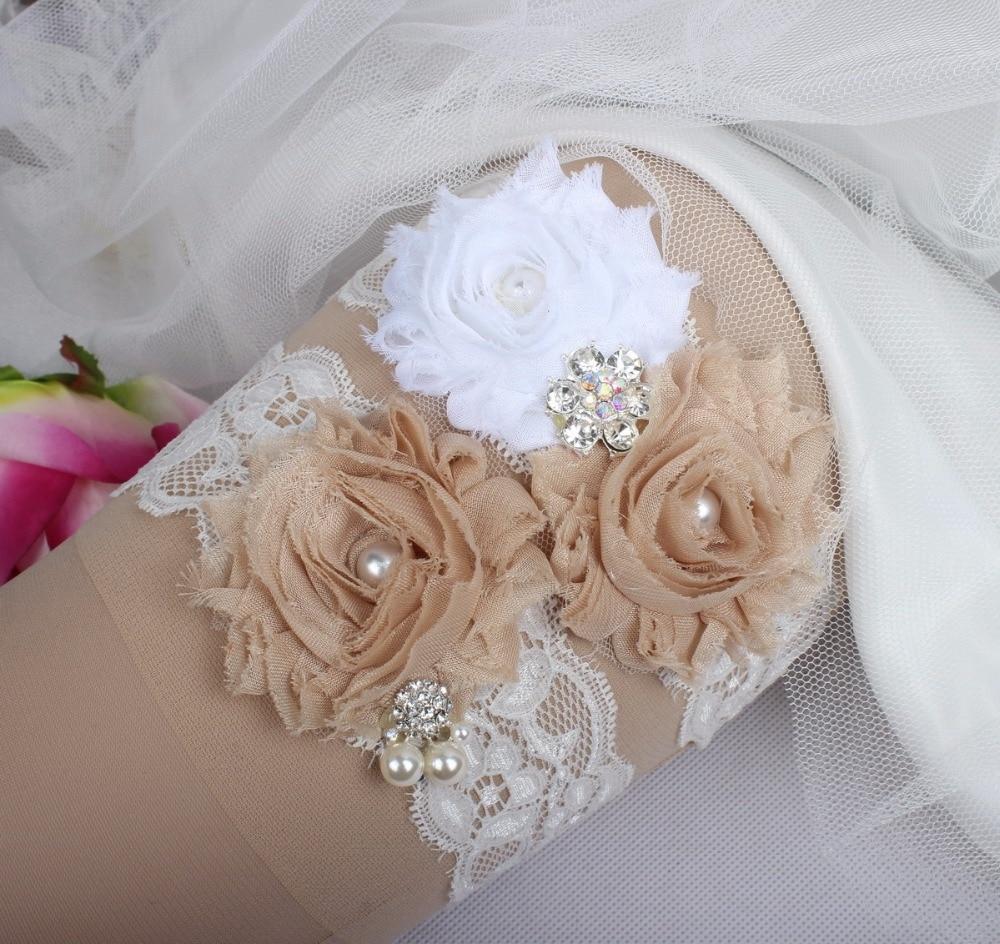 Champagne Flower Lace Wedding Garter Set Vintage