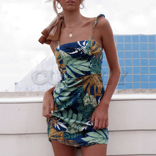 Cuerly 2019 summer plant print dress women boho beach summer sundress bodcyon ruffle mini dress  L5