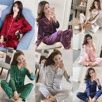 HaoMengFen Women Pajama Silk Sets Autumn Silk Pajamas Long Sleeve Sleepwear women sleep dress