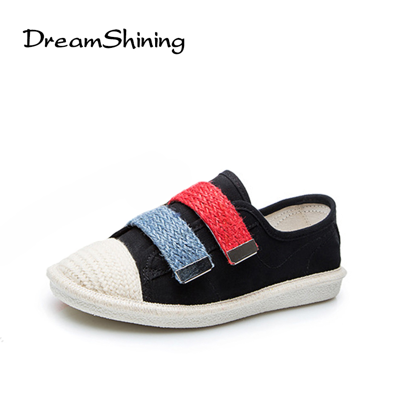 DreamShining New Fashion Spring Casual Flat Shoes Canvas Round Toe Women Loafers Mixed Colors Hook Loop