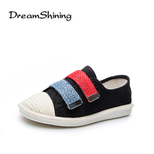 DreamShining New Fashion Spring Casual Flat Shoes Canvas Round Toe Women Loafers Mixed Colors Hook & Loop  Fisherman Shoes