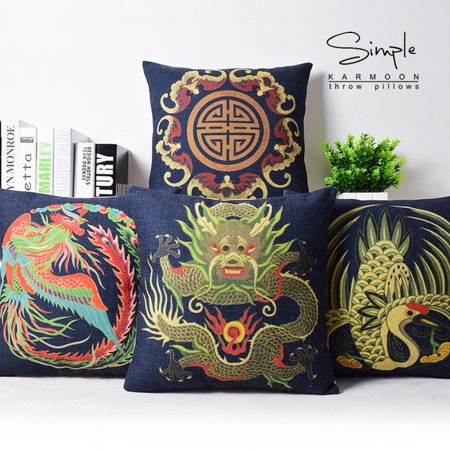 Oriental Chinese Dragon Fenix Lucky Bird Cushion Cover Blue Custom Decorative Throw Pillows With Birds