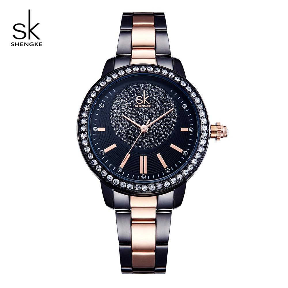 Relógio de Pulso Relógios de Quartzo Shengke Feminino Rosa Ouro Senhoras Marca Superior Cristal Luxo Menina Relógio