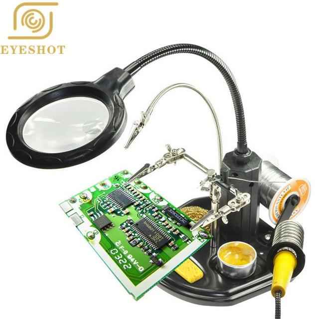 EYESHOT Third Hand Soldering Iron Desk lamp 2.5x-14x Third Hand Iron Stand Soldering Magnifier LED Illuminated  For Repairing