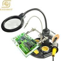 EYESHOT Third Hand Soldering Iron Desk lamp 2.5x 14x Third Hand Iron Stand Soldering Magnifier LED Illuminated For Repairing