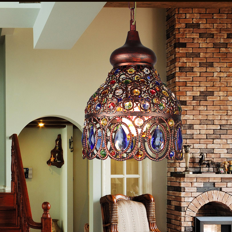 Mediterranean Style Lighting: Creative Mediterranean Style Colorful Chandelier Iron