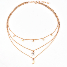 Female Jewelry Choker Multi-layers Star Moon Pendant Chain Necklace Round beads full of stars and moon necklace