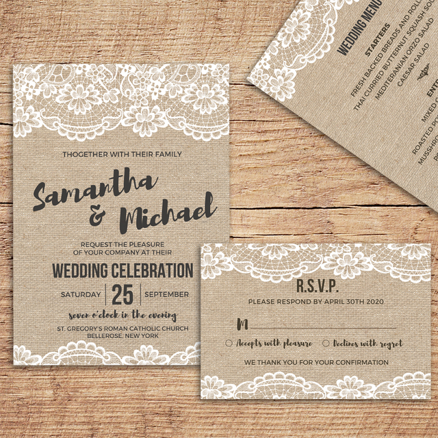 Wedding Invitations with Envelope, Vintage Invitations Cards, RSVP