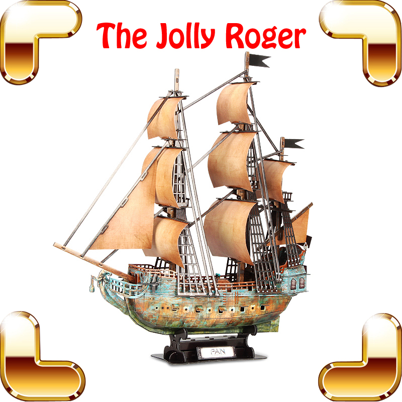 High Level Gift Jolly Roger 3D Puzzles Model Ship DIY Assemble Toys Adult Puzzle Game Movie Figure Models Educational Present led 3d puzzle toys l503h empire state building models cubicfun diy puzzle 3d toy models handmade paper puzzles for children