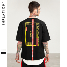 INFLATION 2018 New T-shirt Men Brand Clothing Print T shirt Male Top Quality 100% Cotton Streetwear Men Oversized Tees 8263S